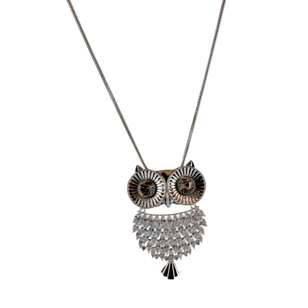 Women's Long Dangle Drop Necklace Silver Tone Hoot Hoot Owl Retro Inspired