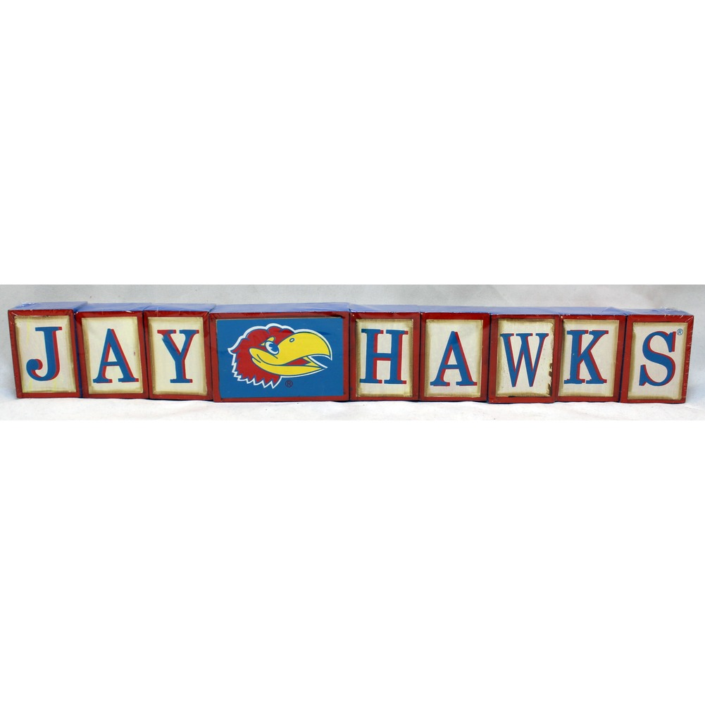 "Kansas Jay Hawks Collegiate Licensed Wooden Blocks 18.5"" Sign Decor"