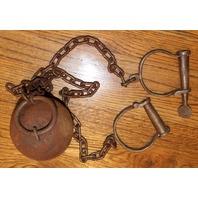 Cast Iron Ball And Chains Leg Irons Cuffs Yuma Prison  Free Shipping