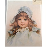 "Victorian Lithograph Print Picture ""Little Ruffles"" Child Girl In Blue 12X16"