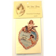Victorian Turn Of The Century Valentine Card Angel Cupids Heart #Mag110