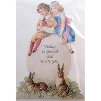 Victorian Turn Of The Century Easter Card Bunny Rabbitchildren & Egg #Mag105