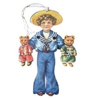 Victorian Turn Of The Century  Little Sailor Boy Pull String Card  #Mgc002