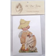 Victorian Turn Of The Century Happy Easter Card Movable Rivet Boy Child #Mgc009