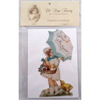 Victorian Turn Of The Century Happy Easter Card Movable Rivet Girl Child