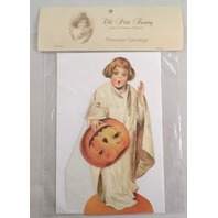 Victorian Turn Of The Century Happy Halloween Ghost Card Movable Rivet #Mgc010