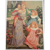 "Victorian Lithograph Print Picture ""Mother And Daughter'S At Play"" 12X16"