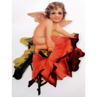 Victorian Turn Of The Century Valentine Card Cupid Angel On A Flower #Nc-083