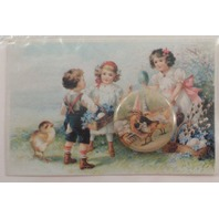 Pin Back Button And Victorian Inspired Greeting Note Card Old Print Factory