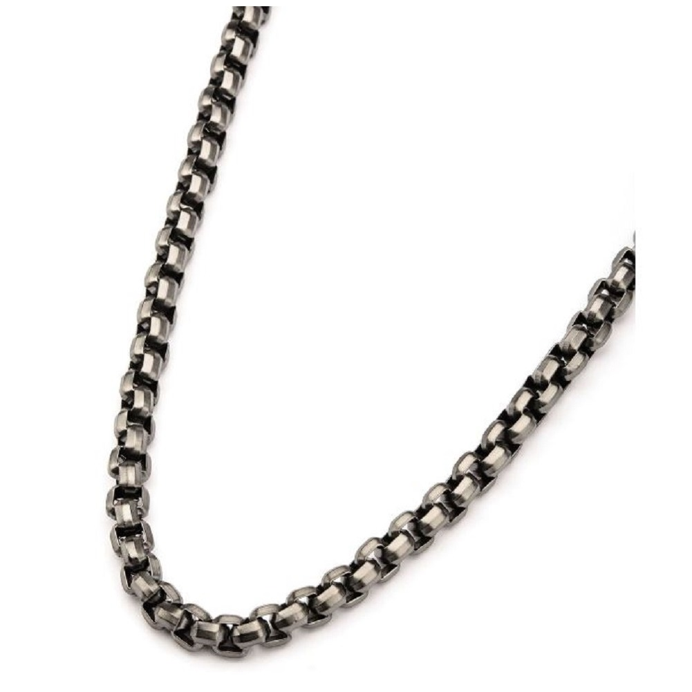 Inox Jewelry Stainless Steel Gun Metal IP Round Box Chain Necklace 24""