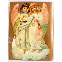 Victorian Lithograph Die Cut Embossed Angel Girls Advent Calendar 18X11.5