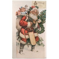 Victorian Lithograph Die Cut Embossed Santa Claus Advent Calendar 12X22