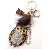 Owl With Dangel Tassel Drop Rhinestone Bling Key Chain Fob Purse Phone Charm