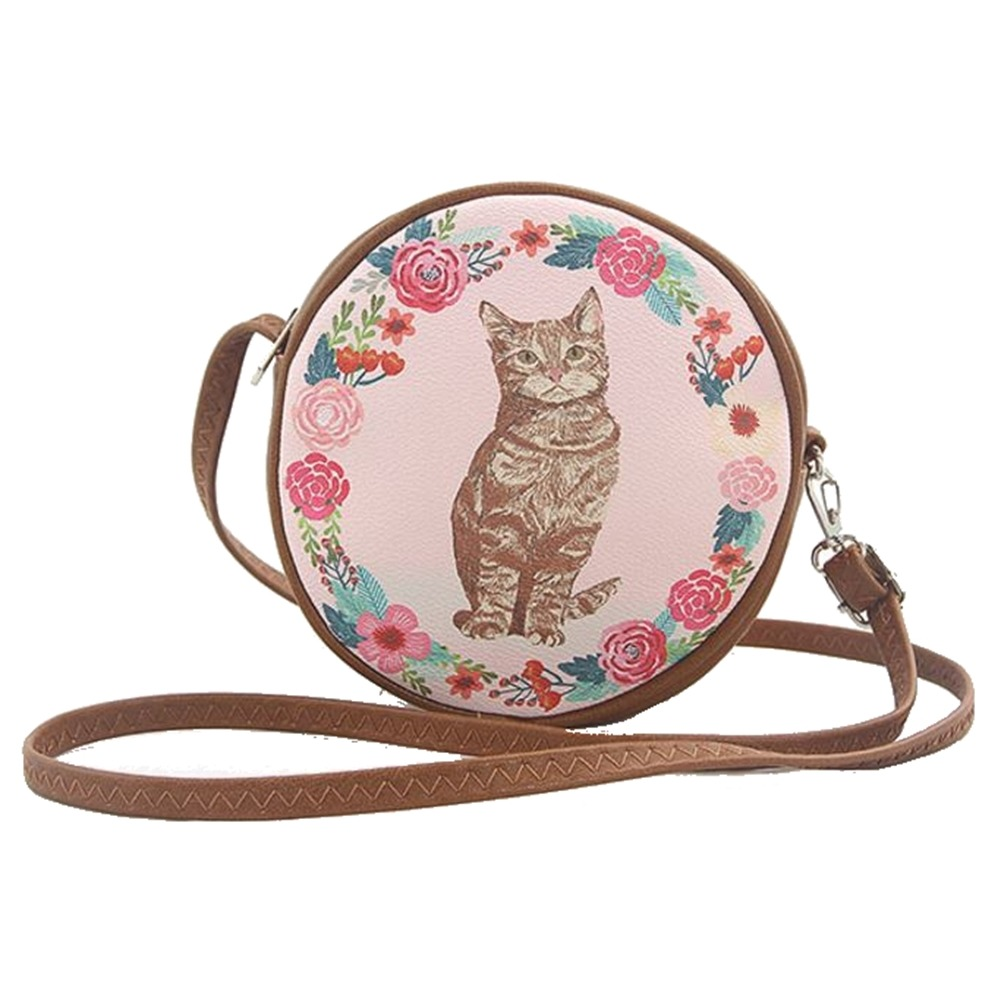 Ashley M Floral Cat Circular Round Cross Body Shoulder Bag Handbag Purse