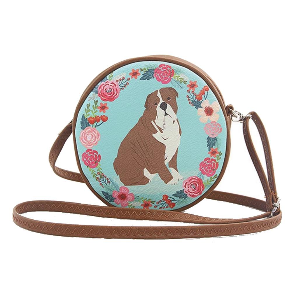 Floral Bulldog  Puppy Dog Circular Round Cross Body Shoulder Bag Handbag Purse