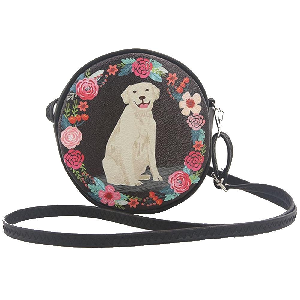 Sleepyville Floral Lab Puppy Dog Round Cross Body Shoulder Bag Handbag Purse