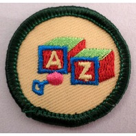Girl Scout Gs Uniform Patch Caring For Children A-Z Building Blocks  #Gsgr
