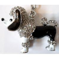 Rhinestone Bling Key Chain Fob Phone Purse Charm Puppy Dog Poodle