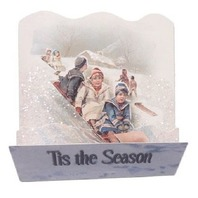 Victorian Turn Of The Century Tis The Season Kids On A Sled Pop-Up Card  #Pop115
