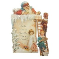 Victorian 3D Turn Of The Century  Christmas Santa On The Roof Card Movable #Pop117