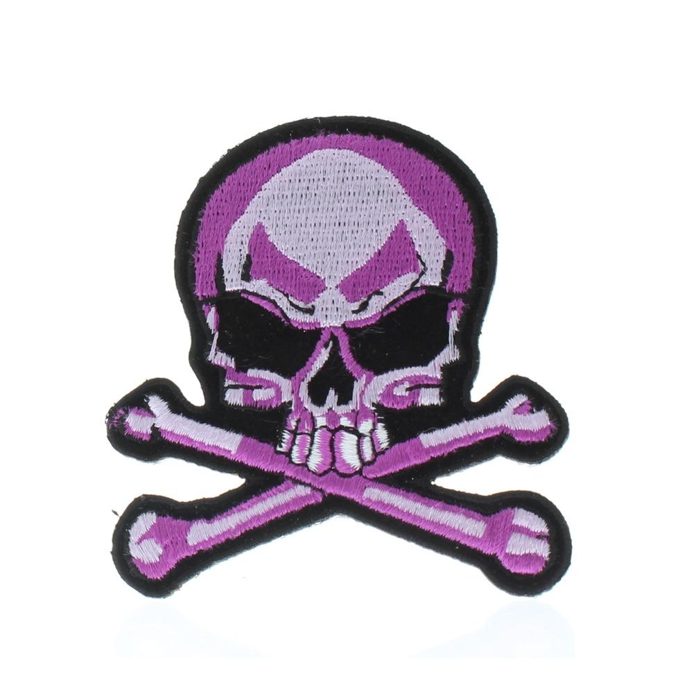 """Motorcycle Biker Uniform Patch 4"""" x 4"""" Pink Skull and Crossbones"""