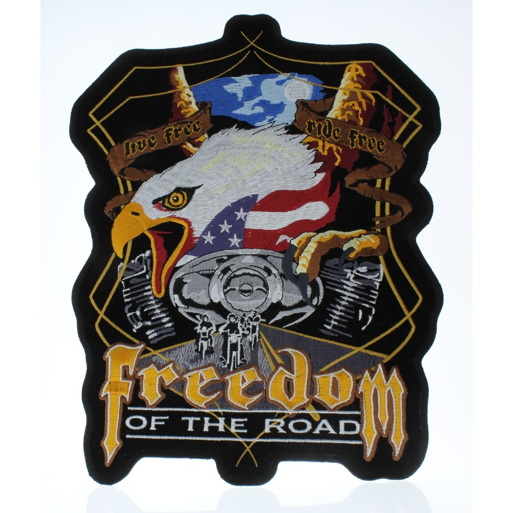 """Motorcycle Biker Uniform Patch 9"""" x 11"""" Midnight Eagle Freedom of the Road"""