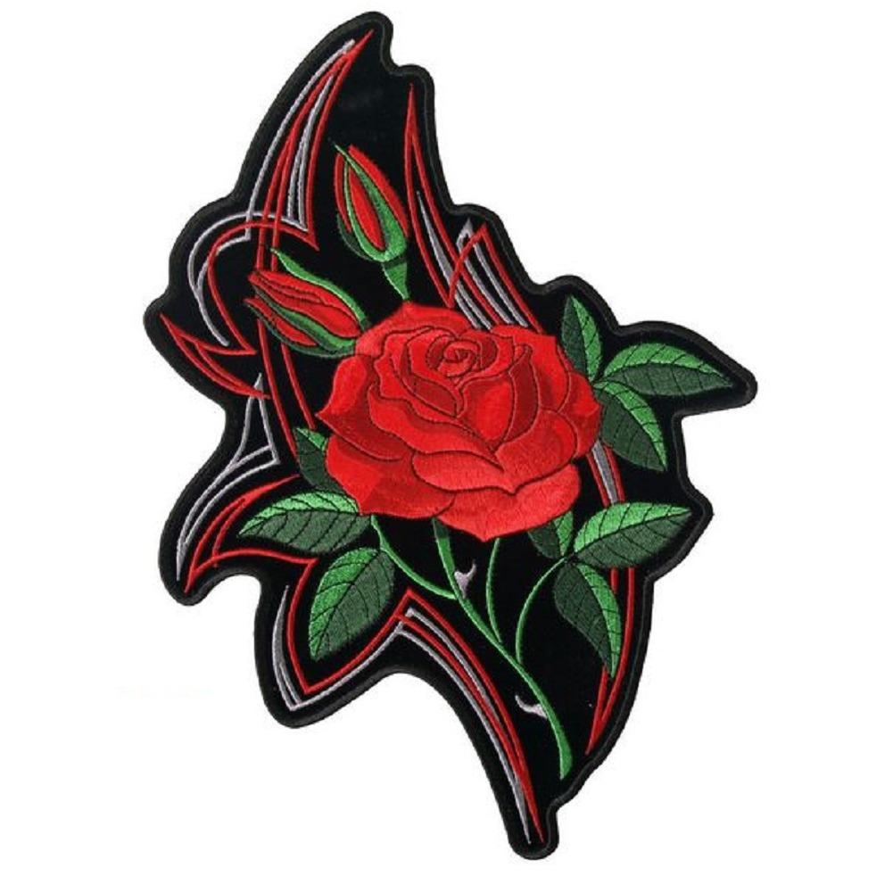 "Motorcycle Biker Uniform Patch 4"" x 5"" Mirrored Rose Bloom Flower"