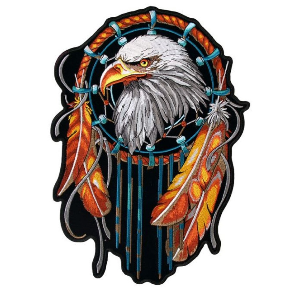 "Motorcycle Biker Uniform Patch 5.25"" x 4"" Eagle in a Dreamcatcher"