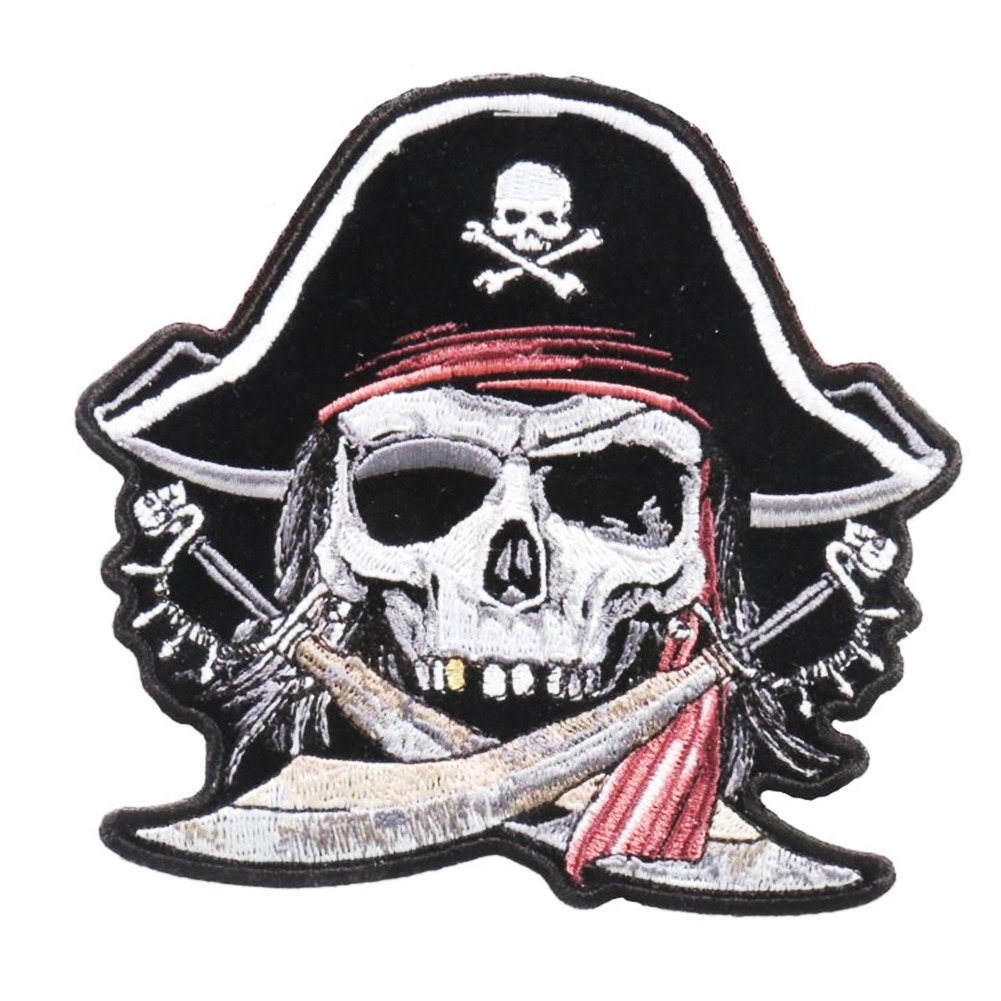 "Motorcycle Biker Uniform Patch 4.5"" x 5"" Skull with Flag Bandana"