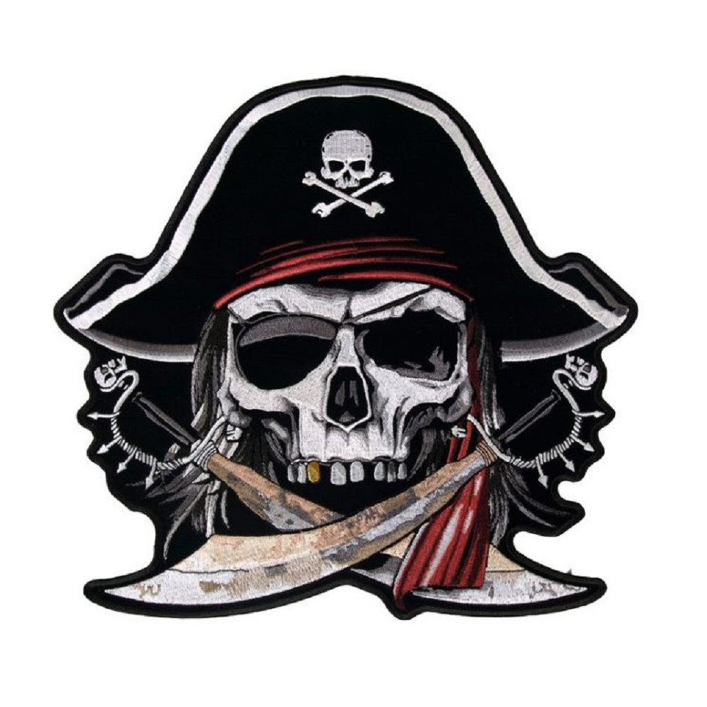"Motorcycle Biker Uniform Patch 5.25"" x 4"" Arrr Matey Skeleton Pirate"