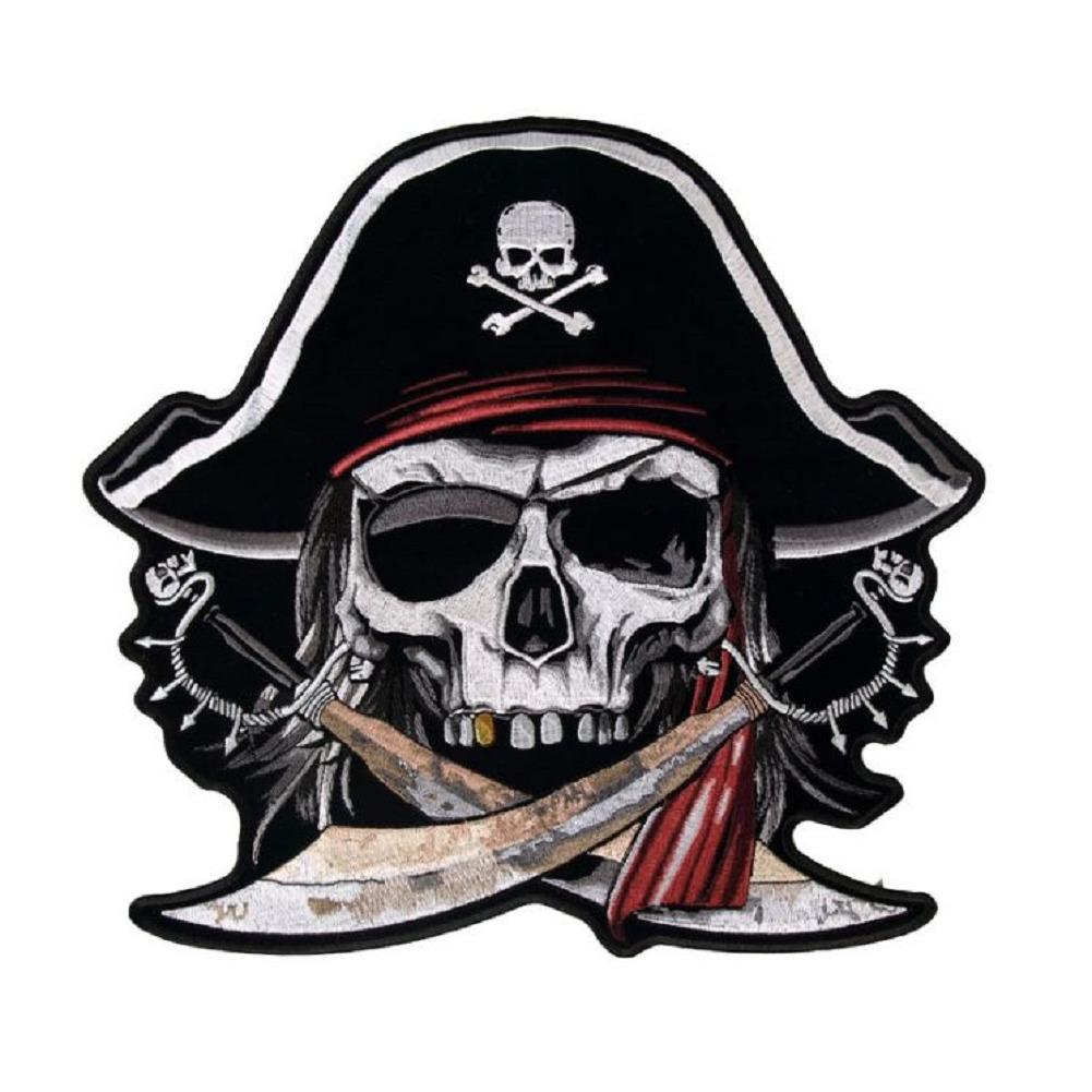 "Motorcycle Biker Uniform Patch 5.25"" x 4"" Arrr Matey Skeleton Pirate"