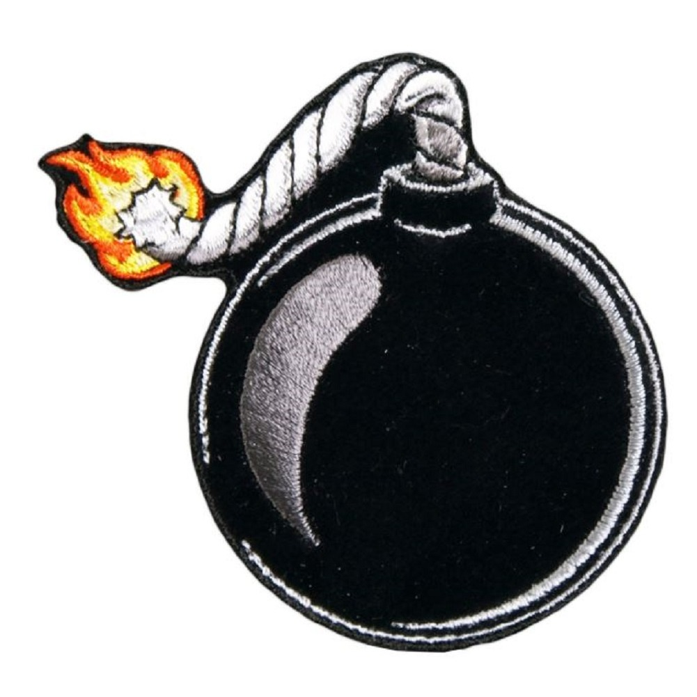 "Motorcycle Biker Uniform Patch 2.75"" x 3"" Lit Bomb Explosive"