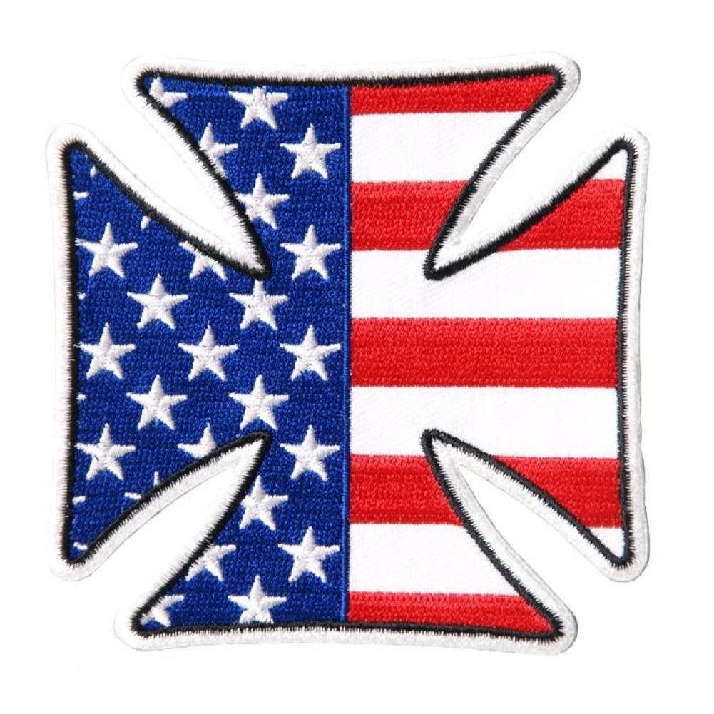 "Motorcycle Biker Uniform Patch 3.25"" x 3.25"" American Flag Cross"