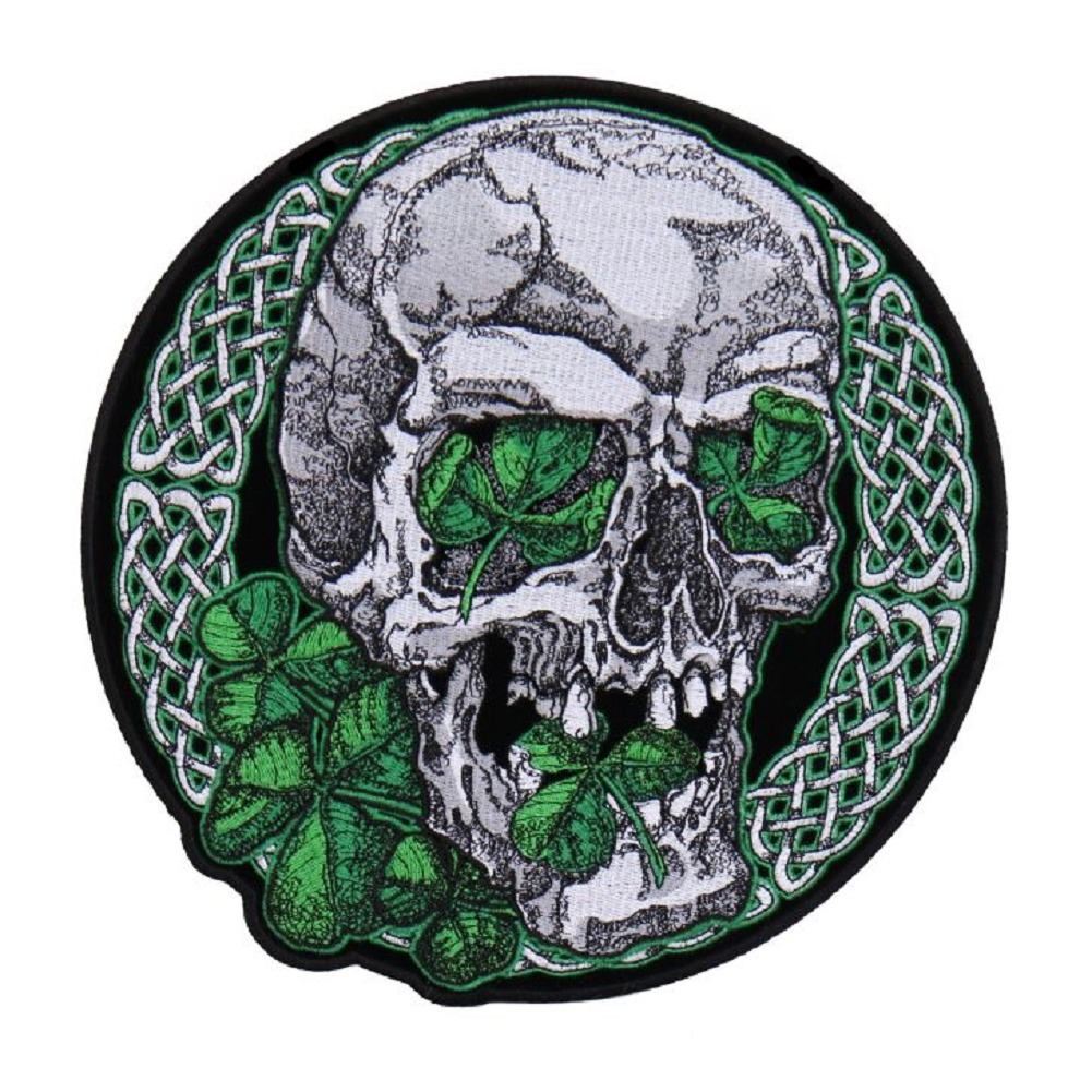 "Motorcycle Biker Uniform Patch 8.5"" Irish Skull and Clovers Knotwork"