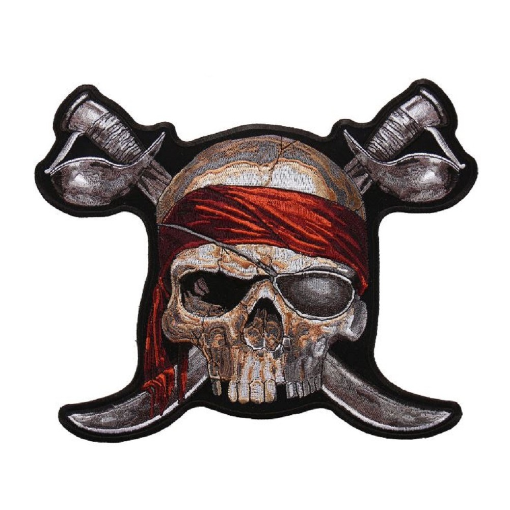 "Motorcycle Biker Uniform Patch 7.5"" x 9"" Pirate with Swords Skull Skeleton"