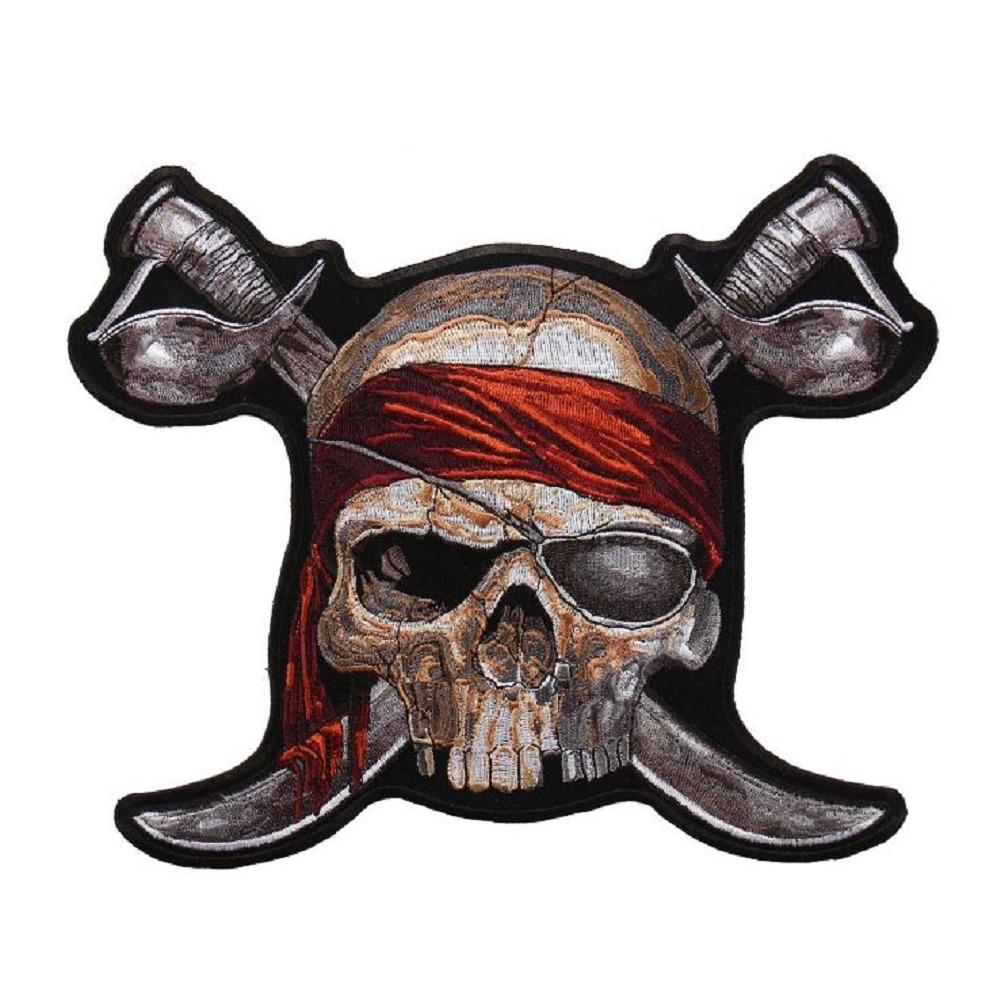 "Motorcycle Biker Uniform Patch 7.5"" x 9"" Pirate with Swords Skull Skeleton"
