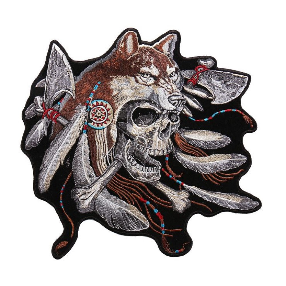 "Motorcycle Biker Uniform Patch 8.5"" x 9.5"" Wolf Feathers Skull Skeleton"
