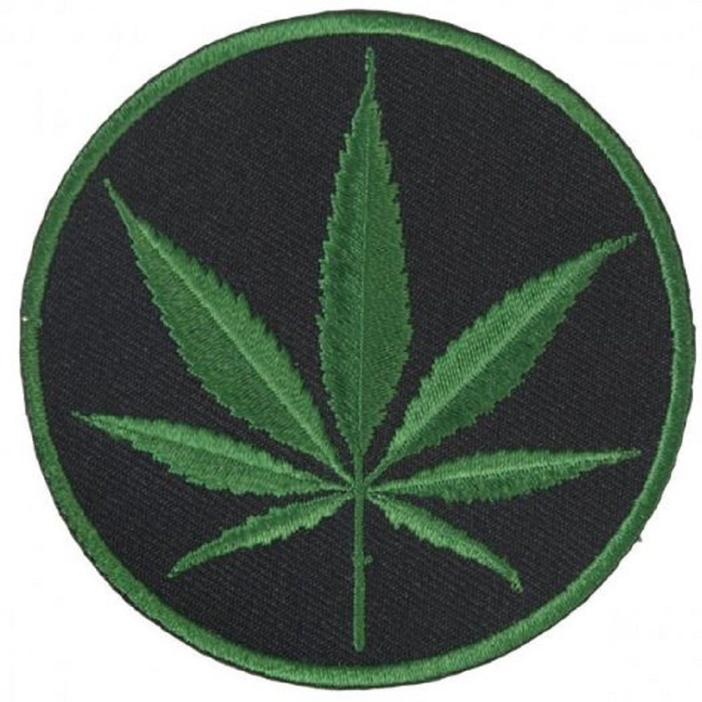"Motorcycle Biker Uniform Patch 3"" x 3"" Marijuana Cannabis Plant Leaf"