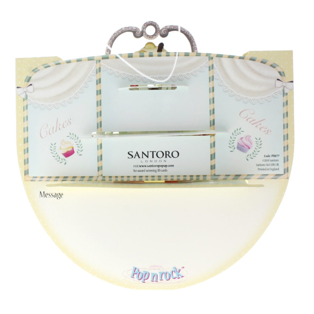 Santoro 3D Cupcake Surprise Greeting Card Pop-Up and Rock Popnrock