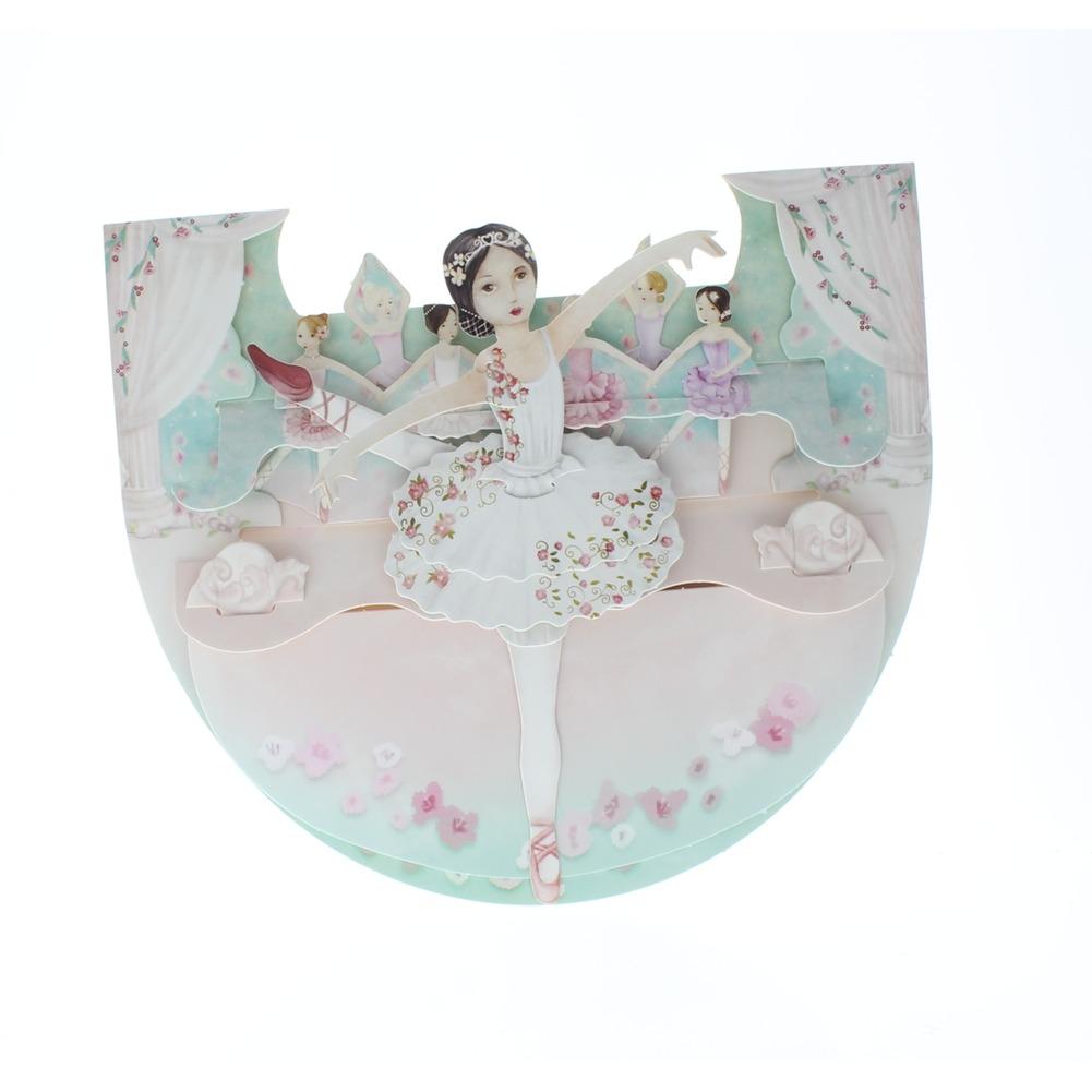 Santoro 3D Dancing Ballerina Girl Greeting Card Pop-Up and Rock Popnrock