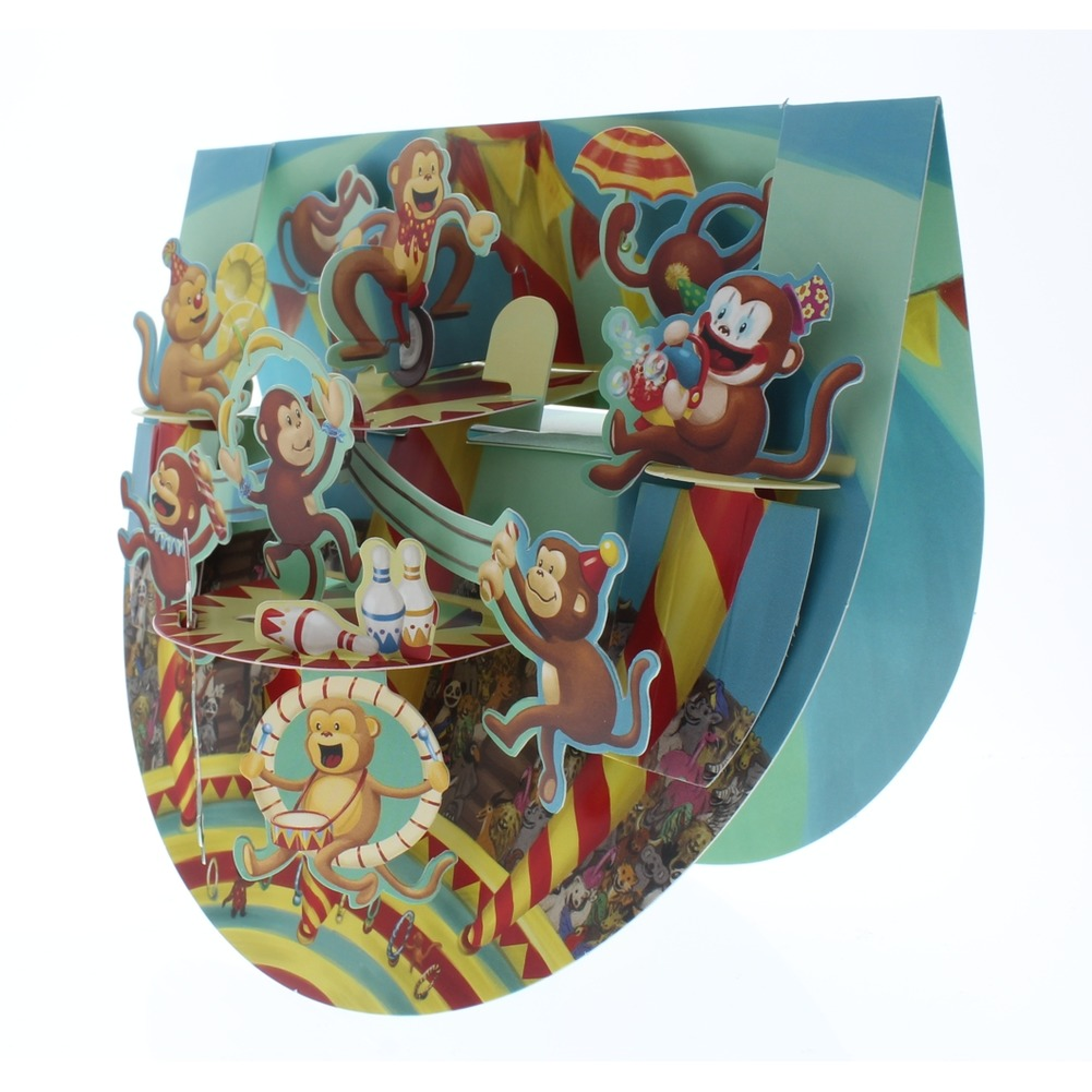 Santoro 3D Monkey Madness Circus Greeting Card Pop-Up and Rock Popnrock