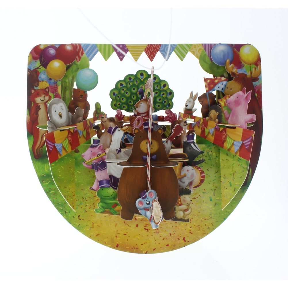 Santoro Animal Party Parade Carnival Greeting Card Pop-Up and Rock Popnrock