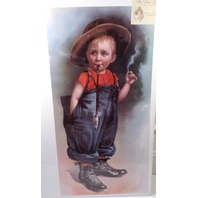 """Victorian Lithograph Print Picture """"The Naughty Boy"""" In Daddy'S Clothes 12X23.5"""