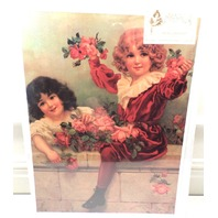 """Victorian Lithograph Print Picture """"Wall Of Roses"""" Children Boy And Girl 12X16"""