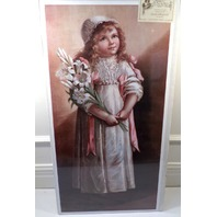 "Victorian Lithograph Print Picture ""Purity"" Girl Holding Flowers 12X23"