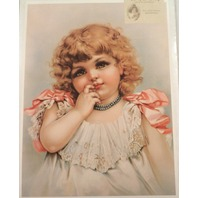 "Victorian Lithograph Print ""Don'T Be Shy"" Girl Child Innocence 12"" X 16"" New"