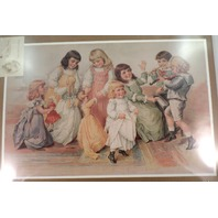 "Victorian Lithograph Print ""The Children'S Party"" New Dancing Girls Wiht Dolls"