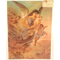 Victorian Lithograph Print Angel Cherrib With Baby In Arms Heavenly 2 X 16 New