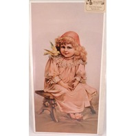 "Victorian Lithograph Print ""Sitting Pretty"" Girl With Yellow Canary Bird New"