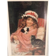 "Victorian Lithograph Print ""Be Nice"" Little Girl Cat And Dog Pals Pets New"